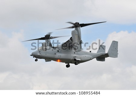FAIRFORD, UK - JULY 8: Us Marine Corps Osprey Tilt Rotor at RIAT Fairford Airshow Event July 8, 2012 in Fairford, United Kingdom. - stock photo