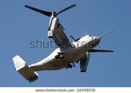 FAIRFORD, UNITED KINGDOM - JULY 15: The MV-22 Osprey during its first demonstration in Europe at the Royal International Air Tattoo July 15 and 16, 2006 in Fairford. - stock photo