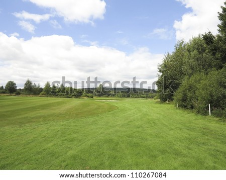 Fairway and rough of a beautiful golfcourse in Europe - stock photo