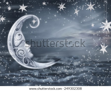 fairy background with stars  - stock photo