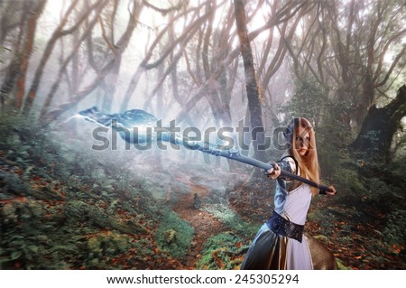 Fairy chimney with a magic stick in the woods - stock photo