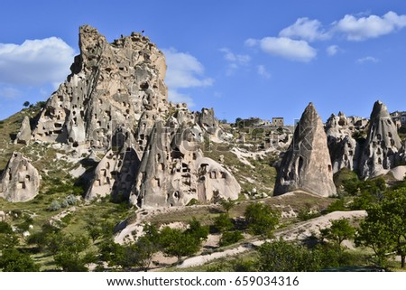 Fairy chimneys (A hoodoo also called a tent rock) with houses and rooms & Fairy Chimneys A Hoodoo Called Tent Stock Photo 659034316 ...