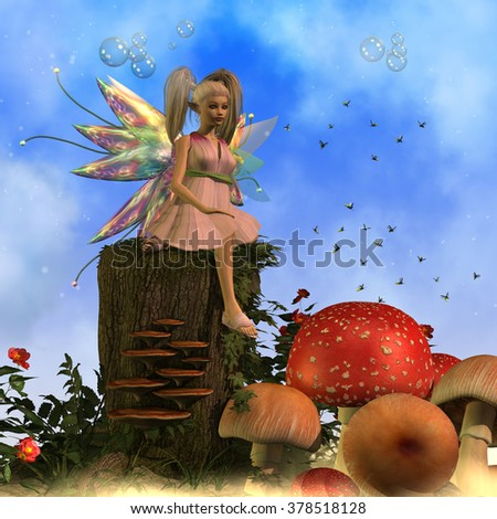 Fairy Faeryl - A swarm of fireflies fly around Fairy Faeryl in a magical forest full of large mushrooms. - stock photo
