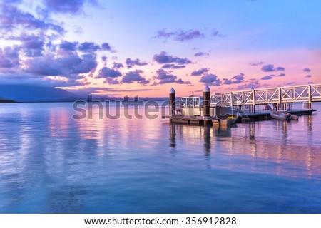 Fairy floss coloured sky over Port Douglas, Queensland Australia  - stock photo