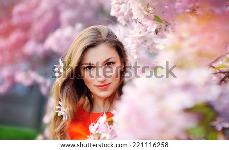 fairy girl: closeup on beautiful young lady having fun relaxing on green outdoors copy space background
