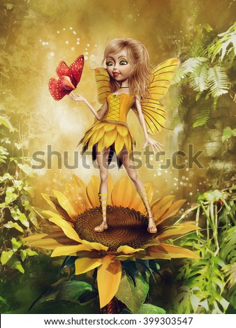 Fairy girl in a yellow dress standing on a sunflower, with a butterfly and green fern. 3D illustration.