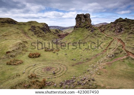 Fairy Glen, Isle of Skye - stock photo