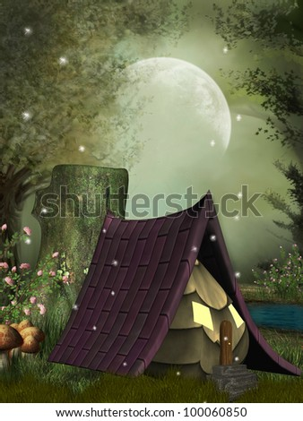 fairy house in the forest with dragonflies - stock photo
