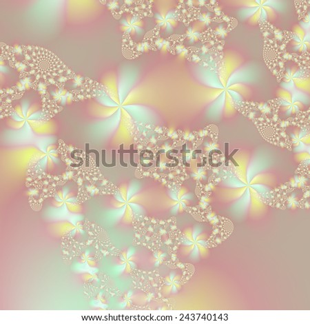Fairy Lights / A digital abstract fractal image with a fairy light design in blue, yellow and pink.