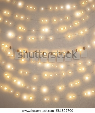 Fairy lights on wall card back stock photo edit now 581829700 fairy lights on the wall card back ground aloadofball Choice Image