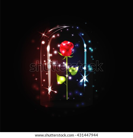 Fairy red rose sparkle under glass stock vector 423426550 for Rose under glass