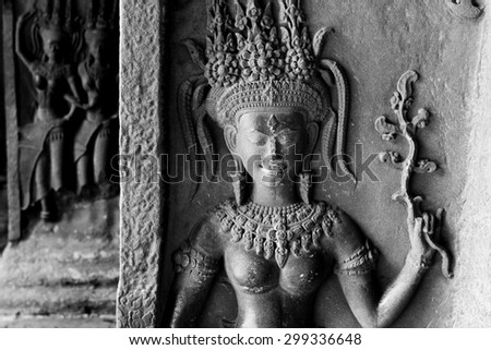 Fairy relief in Angkor Wat - stock photo