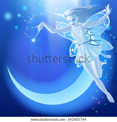 Fairy Tale blue luminous background with flying fairy girl and moon. Fantasy birthday greeting card. - stock photo