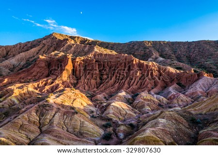 Fairy Tale Canyon (also Skazka), rock formations on the Issyk-Kul lake. Kyrgyzstan.