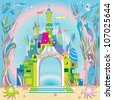 fairy tale castle under the sea, hand drawn composition with mermaids and fishes - stock vector