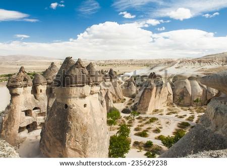 Fairy tale chimney rocks in Pasabg (Monk) Valley in Cappadocia, Turkey - stock photo