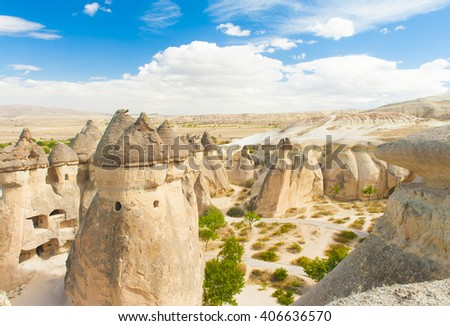 Fairy tale chimney rocks in Pasabg (Monk) Valley in Cappadocia, Turkey - stock photo