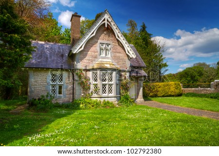 Fairy tale cottage house in Killarney National Park, Ireland - stock photo