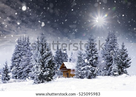 Fairy Tale Cottage In Woods At Winter Christmas Concept