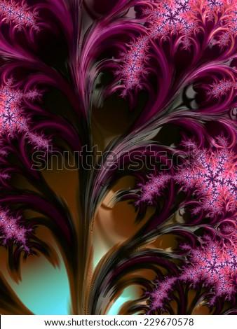 Fairy tale fantasy purple tree - fractal design background - stock photo
