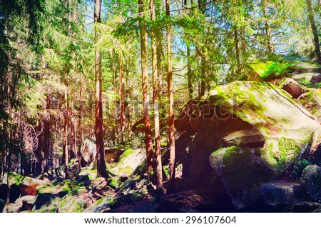 Fairy Tale Forest in Retro Style. Paper Vintage Textured. Mountain Landscape - stock photo