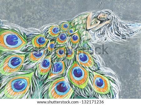 Fairy Tale Hand Drawn Art Illustration Peacock Woman