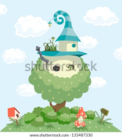Fairy tale house. Raster version, vector file available in portfolio. - stock photo