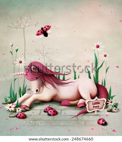 Fairy tale illustration with  pink toy pony unicorn - stock photo