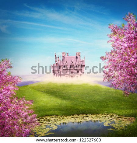 Fairy tale landscape with castle - stock photo