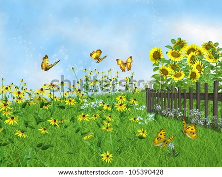 fairy tale lawn with sunflowers - stock photo