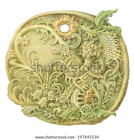 Fairy-tale stone coin (amulet) painting. Isolated on white    Lotus Flower Stone carving clipping path included