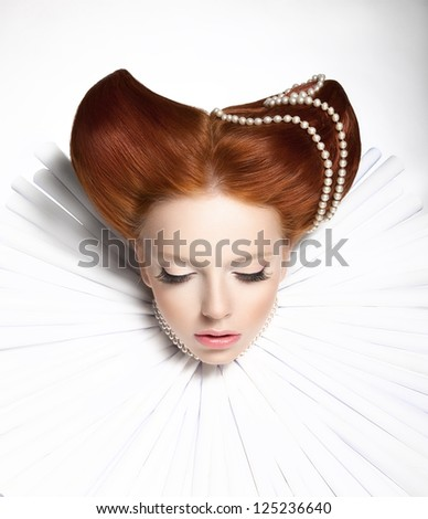 Fairy Tale. Theatre. Fancy Woman in Medieval Frill - Fantastic Retro Hairstyle. Fantasy - stock photo