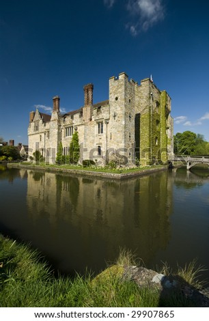 Fairy tale Tudor water Hever Castle - stock photo