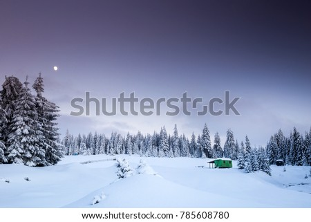 Fairy-tale winter in the mountains with cottage and snowy fir trees