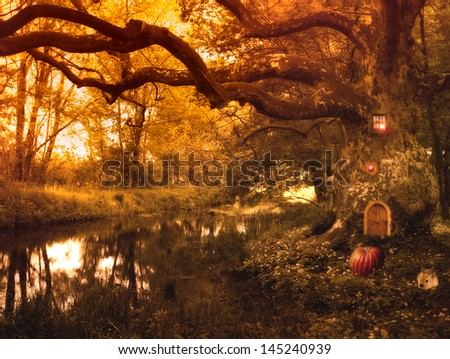 Fairy Tale With Elf House And Pumpkin,rabbit And Lights In The Forest ,fantasy