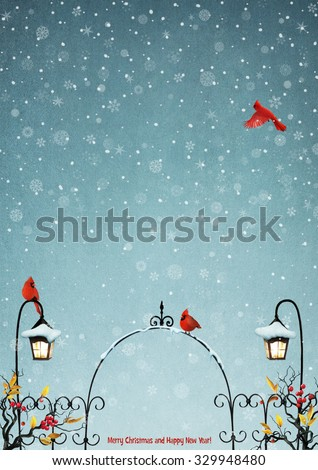 Fairy winter background with gates for greeting card or poster - stock photo
