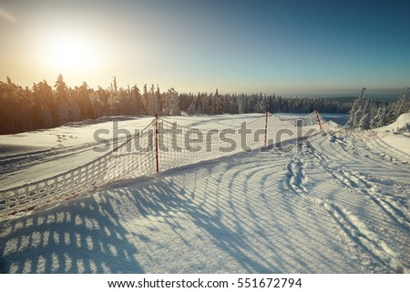 Fairy winter landscape with snow covered trees. Fantastic winter landscape. Dramatic overcast sky. Beauty world. Snowy forest