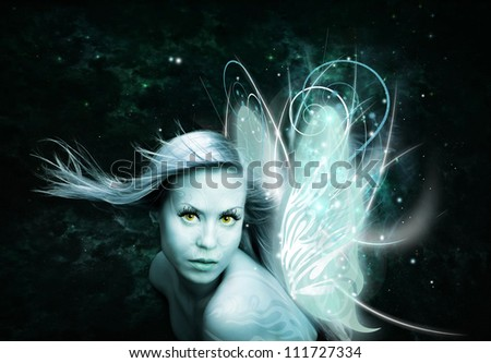 fairy woman with butterfly wings over dark background