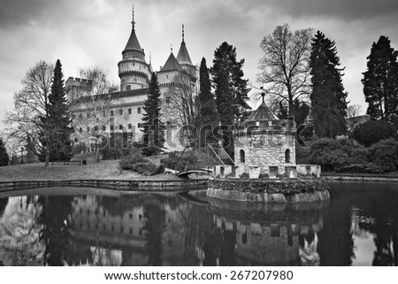 Fairytale Castle. Black and white image of the Bojnice Castle, located in the heart of Slovakia, Europe. - stock photo