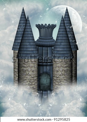 fairytale castle in the sky with moon - stock photo
