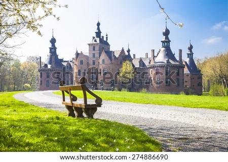 fairytale castles of Belgium series- Ooidonk, East Flanders - stock photo