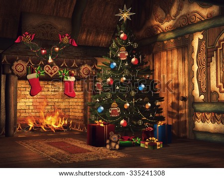 Fairytale cottage with a Christmas tree, colorful gifts and a fireplace