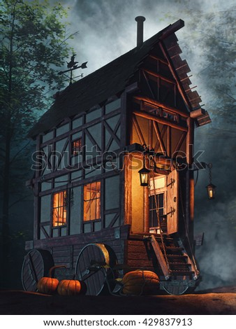 Fairytale house on wheels in the forest at night. 3D illustration.