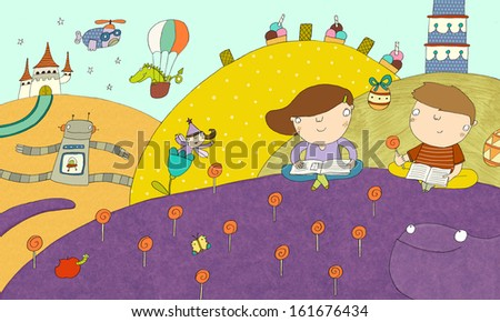 fairytale landscape the imaginary world from books brought to the reality - stock photo