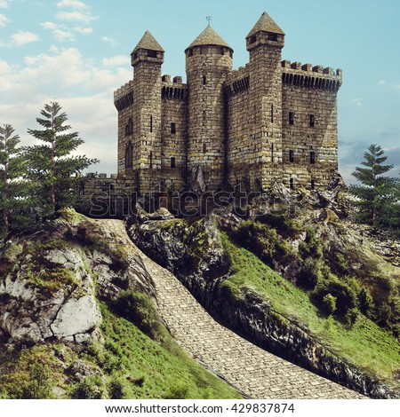 Fairytale landscape with an old stone castle on a hill. 3D illustration.