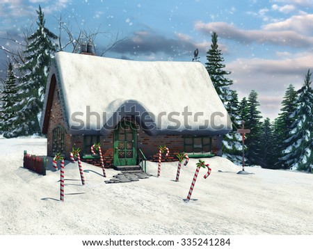 Fairytale winter cottage with candy canes in a forest