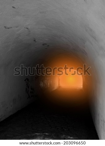 faith analogy light at the end of tunnel Heaven gate - stock photo