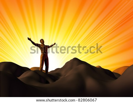 Faith and religion represented by a man on a mountain with his arms raised to the heavens in search of belief and spirituality.