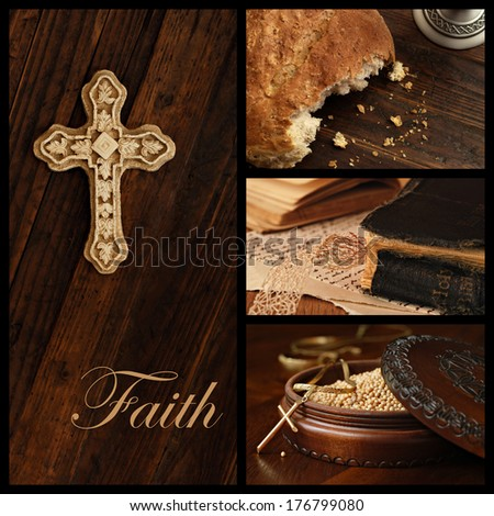 Faith concept.  Collage includes images of an ornamental cross on rustic wood, loaf of communion bread, well used vintage bible, and wooden box of mustard seeds (symbol of faith) with cross pendant. - stock photo