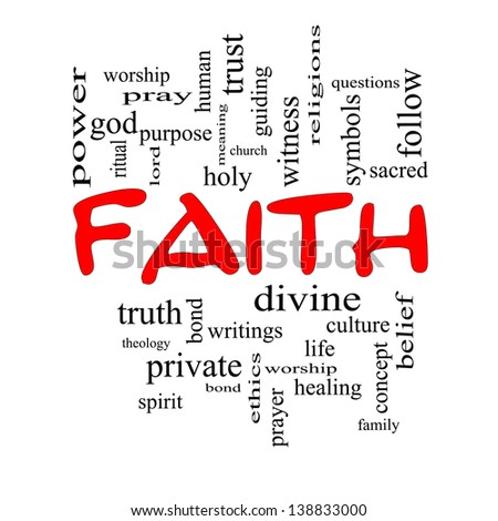 Faith Word Cloud Concept in red caps with great terms such as power, worship, spirit, divine and more.